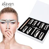 ELEVEN EVER Eyebrow Stencil Ruler kit -Includes 4 Group Eyebrow stencils and an Eyebrow Pencil Permanent Makeup Tools (Tamaño: 4 Group Eyebrow stencils kit)