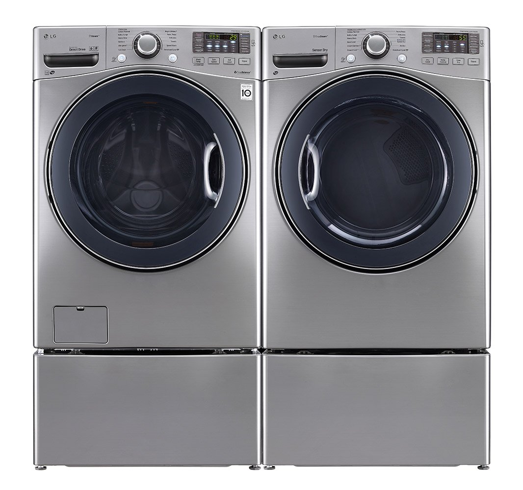 POWER PAIR SPECIAL-LG Turbo Series Ultra Large Capacity Laundry System With Steam Technology(WM3570HVA_DLGX3571V_WDP4V X 2) *GRAPHITE STEEL COLOR*GAS DRYER*Matching Pedestals*