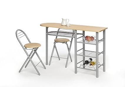 Mesa cocina barra para cocina con taburetes color madera - Mesa abatible carrefour ...