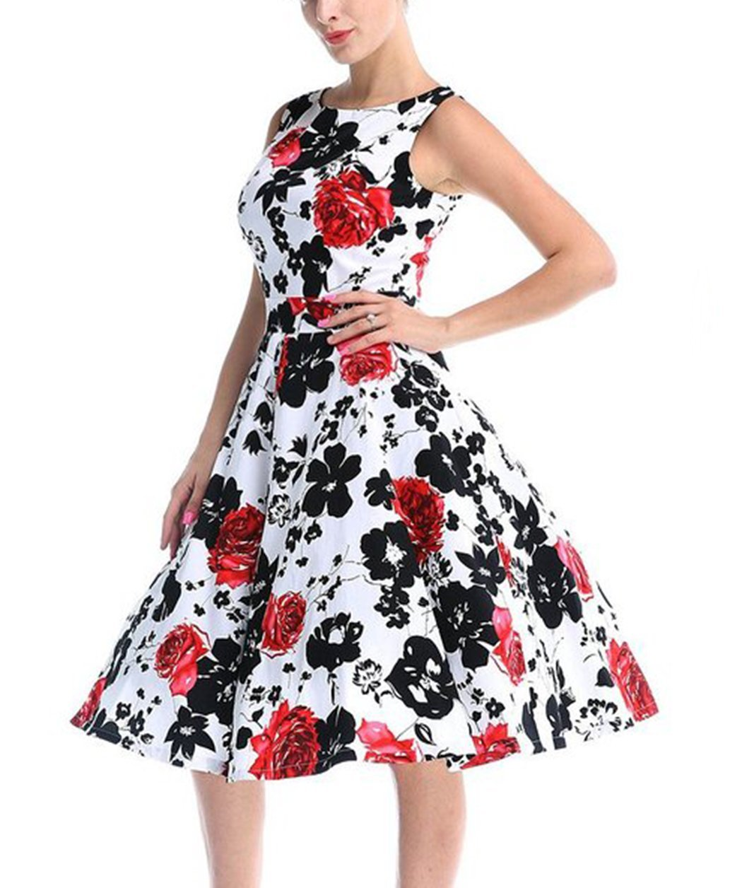 CHIC.U 1950's Vintage Floral Spring Garden Party Picnic Dress Party Cocktail Dress 0