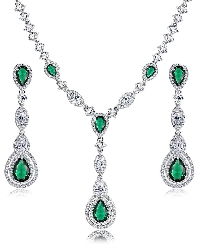 Hochzeit Braut Erklärung Halskette und Ohrringe Set für Damen, Grüne Tropfen und klar Marquise Zirkonia jetzt kaufen