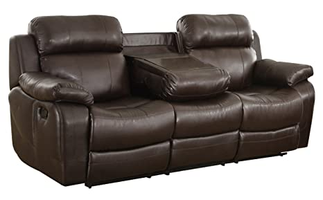 Homelegance Marille Reclining Sofa w/ Center Console Cup Holder, Brown Bonded Leather