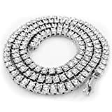 Niv's Bling 14K White Gold Plated Iced Out 1 Row Tennis Necklace, 18 Inches