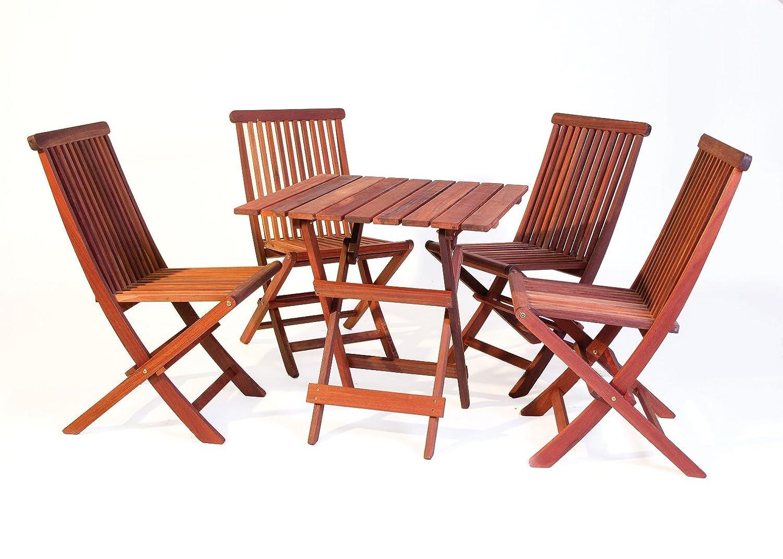 Bistro Gartenmöbel Set (quadratischer Tisch + 4 Stühle) exklusiven Mahagoni Hartholz, vollklappbar