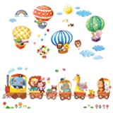 Decowall DA-1406 Animal Train and Hot Air Balloons Kids Wall Decals Wall Stickers Peel and Stick Removable Wall Stickers for Kids Nursery Bedroom Living Room (Color: MULTI)