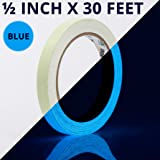 Glow Tape - .5 Inch x 30ft Vinyl Adhesive Blue Glow-in-The-Dark Tape Roll - Lasts Up to 12 Hours (Color: Blue, .5