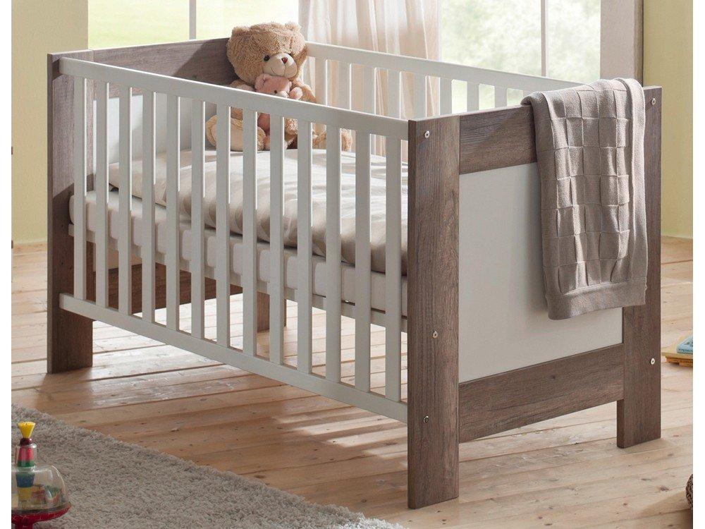 Kinderbett Babyzimmer Bella Dekor wildeiche trüffel/ weiß matt