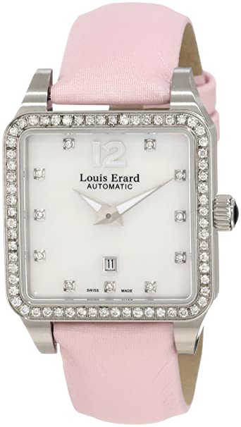 Louis Erard Women's 20700SE14.BDS60 Emotion Square Automatic Mother of Pearl Satin Diamond Watch