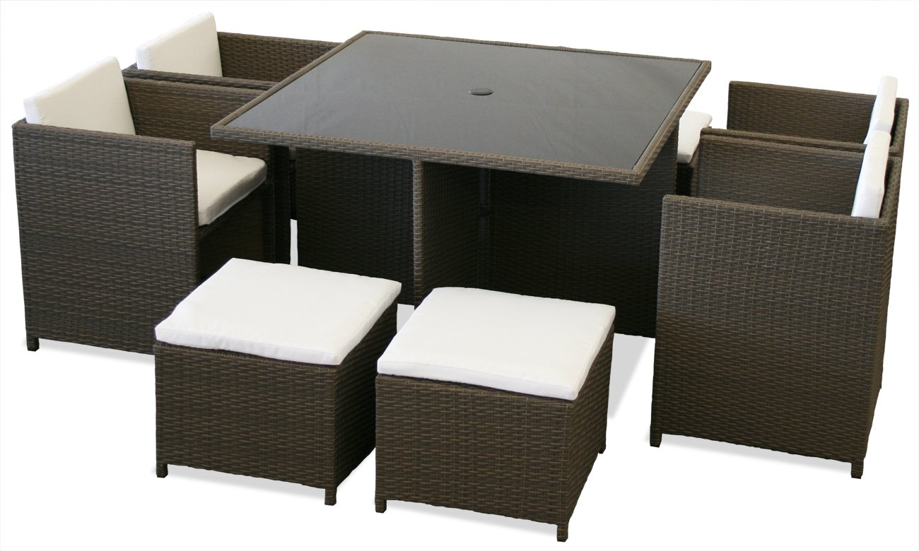 KMH®, 9-teilige Gartensitzgruppe (grau / braun) (inklusive Auflagen und Kissen) (#106115) günstig kaufen