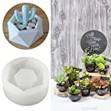 HAPYLY Diamond Shaped Surface Succulent Plant Flower Pot Soap Bottle Mold Silicone Mold DIY Ashtray Candle Holder Mould (Color: White)
