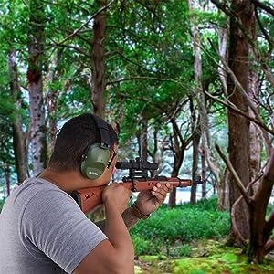 NoiseCancellingEarMuffs for Shooting Hunting, Adjustable Shooting Ear Muffs,Shooters Ear Protection Safety Ear Muffs, Lightweight Ear Muffs Noise Protection|HUARUI (Green) (Color: Green)