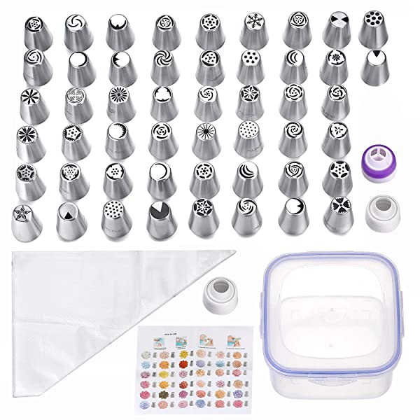 105 Pcs - 50 Numbered Frosting Nozzles & Instruction Sheet - 50 Pastry Bags & 4 Couplers - Cake, Cupcake & Baking Decorating Supplies Kit For Flower Shaped Icing Decorations