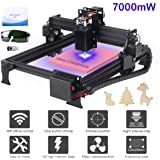 Yofuly 7000mW Laser Engraving Machine Upgrade Version DIY Desktop CNC Engraving Machine Wood Router Engraver, Support Computer/Android WIFI/Off-line Control Laser Printer with Protective Glasses (Color: 7000mW)