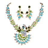 EVER FAITH Women's Austrian Crystal Peacock Feather Animal Necklace Earrings Set Green w/ Blue Gold-Tone
