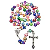 Catholic Rosary Necklace Colorful Polymer Beads Virgin Mary Centerpiece Jesus Crucifix Holy Land Gift