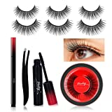 Viciley 3 Pairs Fake Eyelashes Reusable 3D Handmade False Eyelashes with Liquid Eyeliner Pro Kit Easy to Use, No Glue Needed and No Magnet (Eyelashes Length: 6-16mm) (Color: black 6-16mm)
