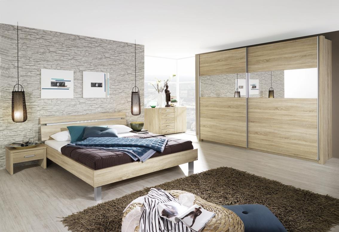 Schlafzimmer mit Bett 140 x 200 cm in Eiche Sonoma günstig
