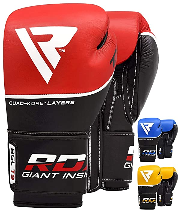Fight MMA Sparring Training Boxing Glove Cow Hide Leather Bag Gel Pad Punch Mitt