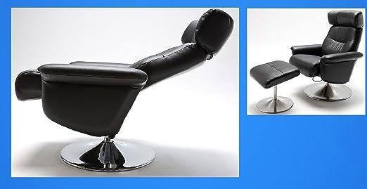 4.4.3.5.2981: gunstiger TV-Sessel mit Hocker in Kunstleder schwarz - Fernsehsessel mit Hocker schwarz - Relaxsessel schwarz