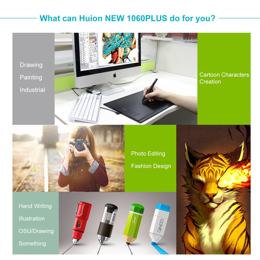 Huion Micro USB Drawing Big Size Graphics Tablet with 8G SD Card and Rechargeable Pen - 1060 PLUS Upgraded Version Digital Pen Tablet (New 1060PLUS)