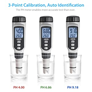 Dr.meter Upgraded PH838 0.01 Resolution High Accuracy Backlit Two-Color LCD Display pH Meter with ATC, 0-14pH Measurement Range with Data Hold Function
