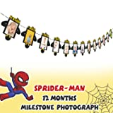 AERZETIX Spiderman First Decorations Black & Gold Birthday Photo Banner for Newborn Baby 12 Months Photograph 1st Birthday Party Decoration (Color: Spiderman-newborn)
