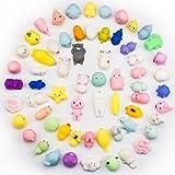 BeYumi Mochi Squishy Animal Toys, Random 28 Pcs Kawaii Cute Soft Squishy Stretchy Toys Mini Animal Hand Toy Stretchy Healing Stress Reliever