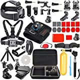 HAPY Gopro Accessories kit for GoPro Hero 6,5 Black, Hero Session,GoPro Fusion,Hero 6,5,4,3, Head Strap Camera Mount,Chest Mount Harness,Carrying Case,Action Camera Accessories (Color: Black)