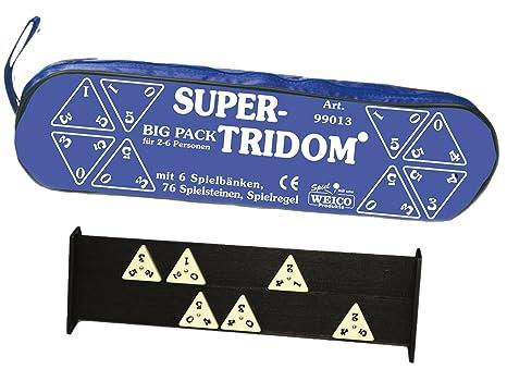 Weico 99013–Jeu de Société, Big Pack Super Tridom pour 2–6joueurs, 76, pierres, 6Bancs, poche zippée