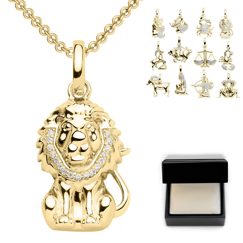 Löwe Anhänger Sternzeichen Anhänger Löwe Gold hochwertig vergoldet - inkl. Luxusetui + - Sternzeichen Kette Löwe Zirkonia Steine Horoskop Schmuck Sternzeichen FF23 VGGG