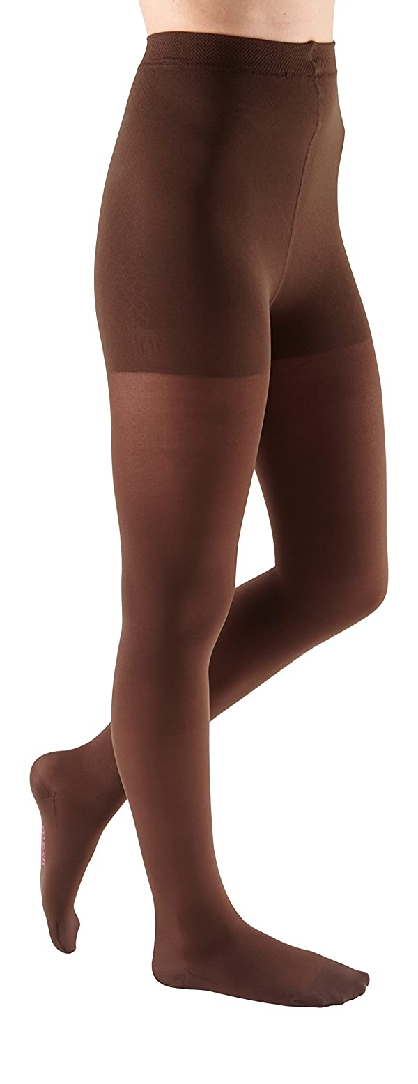 mediven Comfort, 20-30 mmHg, Thigh High Compression Stockings w/Lace Top-Band, Closed Toe (Color: Chocolate, Tamaño: V)