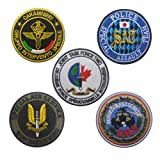 SOUTHYU 5 Pack Italy GIS/UK/Japan SAI/Canada/German GSG 9 Special Force Tactical Morale Patches Military Emblem Embroidered Badge, Hook and Loop Patch (Color: 5 pack Special Force patch)