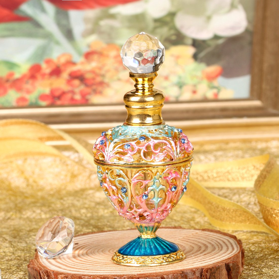 YUFENG 5ml Restoring Ancient Ways Hollow-out Rattan Flower Perfume Bottles Empty Refillable 5