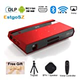 Mini Smart Video Projector H96 Max DLP Pico Portable Projector 150ANSI 4K 1080P Android Projector with 200'' Display/HDMI in/2.4&5G WiFi/BT4.1/USB/SD for Home Theater Movie Projector (Color: Red)