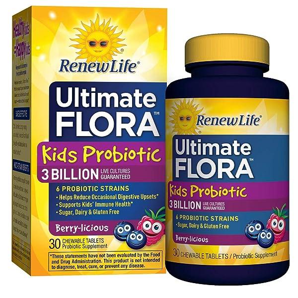 Renew Life Kids Probiotic - Ultimate Flora  Kids Probiotic, Shelf Stable Probiotic Supplement - 3 Billion - Berry Flavor, 30 Chewable Tablets (Packaging May Vary) (Color: Multi, Tamaño: 30 Count)