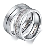 Aeici Stainless Steel Cubic Zirconia Couple Rings Wedding Bands Womens Promise Rings Silver (Color: Women(1PC))