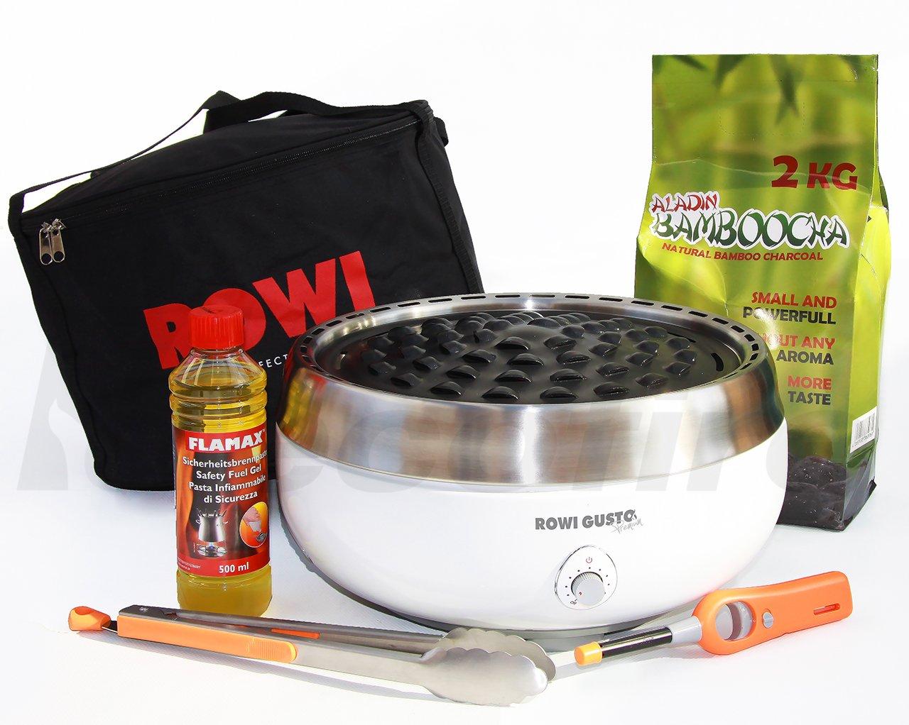 Holzkohle Tischgrill ROWI GUSTO Premium – Grillerette – Weiss, im Super Pack mit viel Grillzubehör und Bambus-Holzkohle jetzt kaufen
