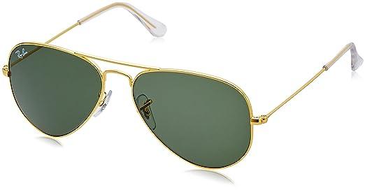 ray ban aviator 55  Ray-Ban Aviator sunglasses (Golden) (RB-3025-0015-55 14): Amazon ...