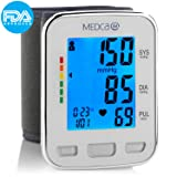 Blood Pressure Cuff Wrist - Blood Pressure Monitor and Portable Fully Automatic BP Machine Band with Large Backlit LCD Display for Fast Accurate Reading by MEDca