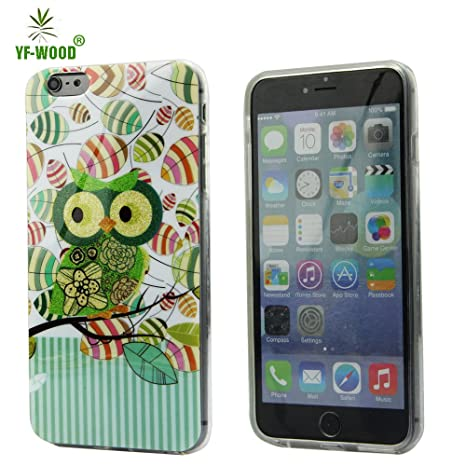 6 Plus, 6 Plus Case, iPhone 6 Plus Cover Owl on Leaves Aitoo Ultra Slim Fit Dual TPU Soft Scratchproof Protective Case Cover for Apple iPhone 6 Plus 5.5 inch