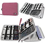 Travel Cable Organizer Bag,BUBM Space Saving Electronics Accessories Storage Bag for iPad, USB,Flash Drive,Phone,Charger,Power Bank, Travel Gear Bag Sleeve(Large,Pink) (Color: Pink+Grey, Tamaño: Large)