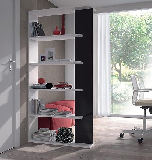 Andara acabado negro brillante y blanco brillante habitación estantería para libros divisor 234578