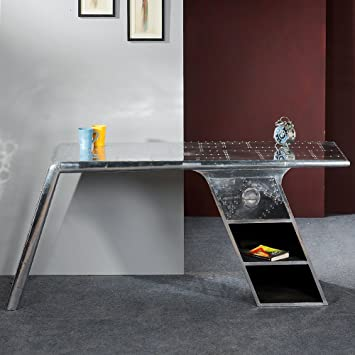 SalesFever Schreibtisch Alu mit Zierschrauben Schublade und 2 Ablagefächer Design Aero
