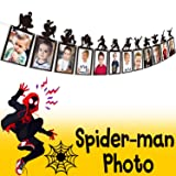 AERZETIX Superhero Spiderman Birthday Decorations Black Happy Birthday Photo Banner with Silhouette Details for Kids / Children Photograph Picture Birthday Party Decoration (Color: Spiderman-silhouette)