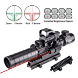 "Pinty Rifle Scope 3-9x32EG Rangefinder Illuminated Reflex Sight 4 Reticle Red&Green Red Dot Laser Sight with 14 Slots 1"" High Riser Mount (Color: black, Tamaño: 3-9x32)"