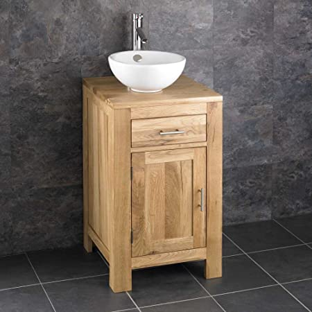 Alta Solid Oak Single Door Narrow Freestanding Cabinet and Basin