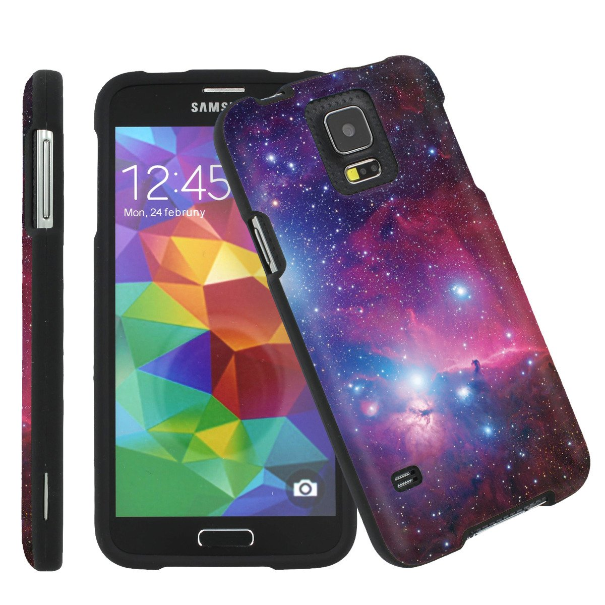 Samsung Galaxy S5 Total Protection Black Phone Cover Hard Case (Space)