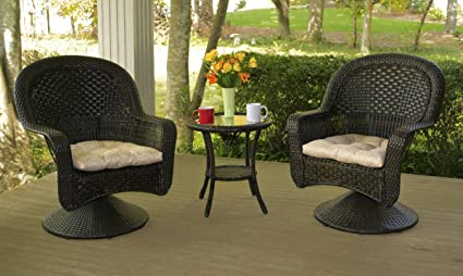 Tortuga Outdoor After Dinner 3 Piece Bistro Set with Cushions - Brown - Patio Furniture - Wicker Coffee Table and Chairs - Round Table Glass Top