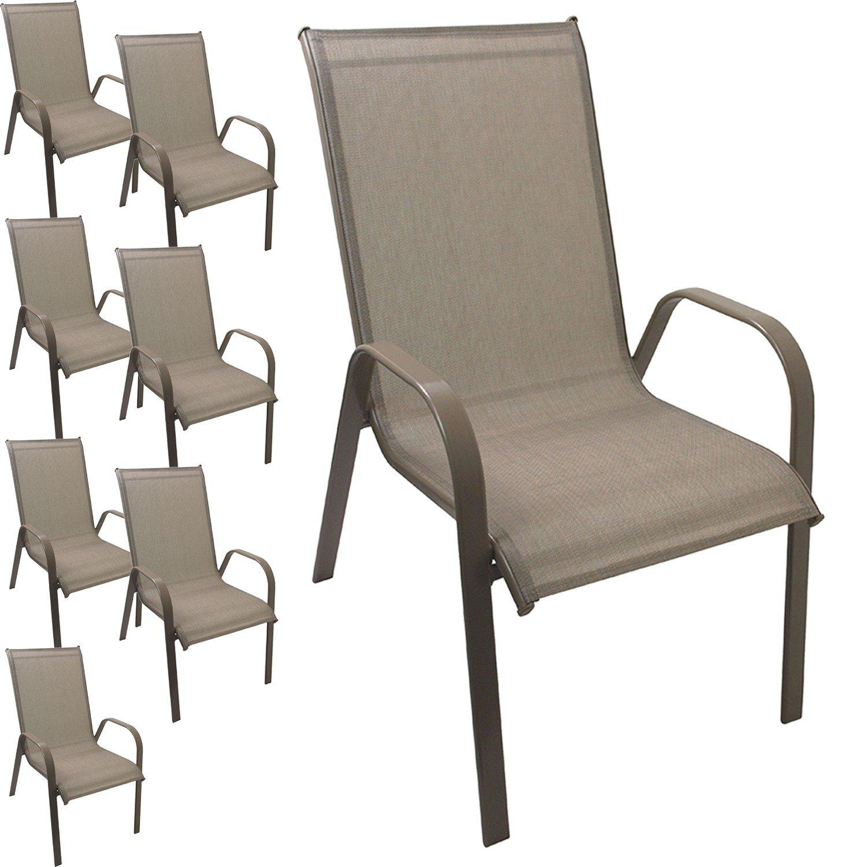 8 Stück Gartenstuhl stapelbar Gartensessel Stapelstuhl Stapelsessel Stahlgestell pulverbeschichtet mit Textilenbespannung Gartenmöbel Terrassenmöbel Balkonmöbel Champagner