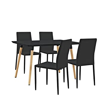 [en.casa] Stylischer Esstisch / Kuchentisch (120x80cm) mit 4 Polster-Stuhlen PU- Kunstleder schwarz - Essgruppe in Sparpaket